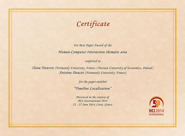 Certificate for best paper award of the Human-Computer Interaction thematic area. Details in text following the image