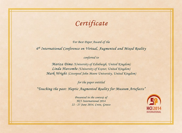 Certificate for best paper award of the 6th International Conference on Virtual, Augmented and Mixed Reality. Details in text following the image