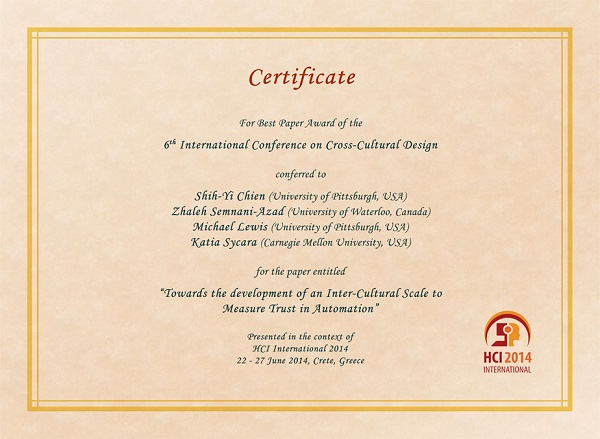 Certificate for best paper award of the 6th International Conference on Cross-Cultural Design. Details in text following the image