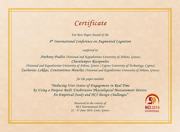 Certificate for best paper award of the 8th International Conference on Augmented Cognition. Details in text following the image