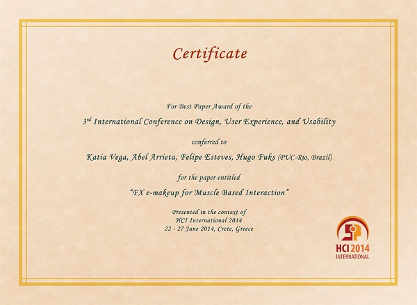Certificate for best paper award of the 3rd International Conference on Design, User Experience and Usability. Details in text following the image