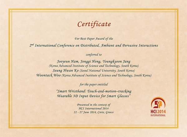 Certificate for best paper award of the 2nd International Conference on Distributed, Ambient and Pervasive Interactions. Details in text following the image