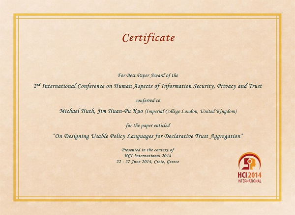 Certificate for best paper award of the 2nd International Conference on Human Aspects of Information Security, Privacy and Trust. Details in text following the image