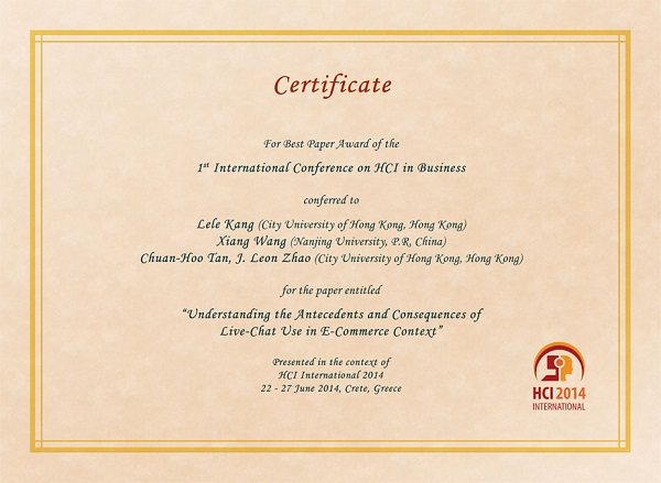 Certificate for best paper award of the 1st International Conference on HCI in Business. Details in text following the image